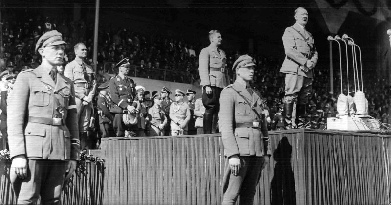 Adolf Hitler gives his annual Reichsparteitag speech to the Hitlerjugend in Nuremberg's stadium