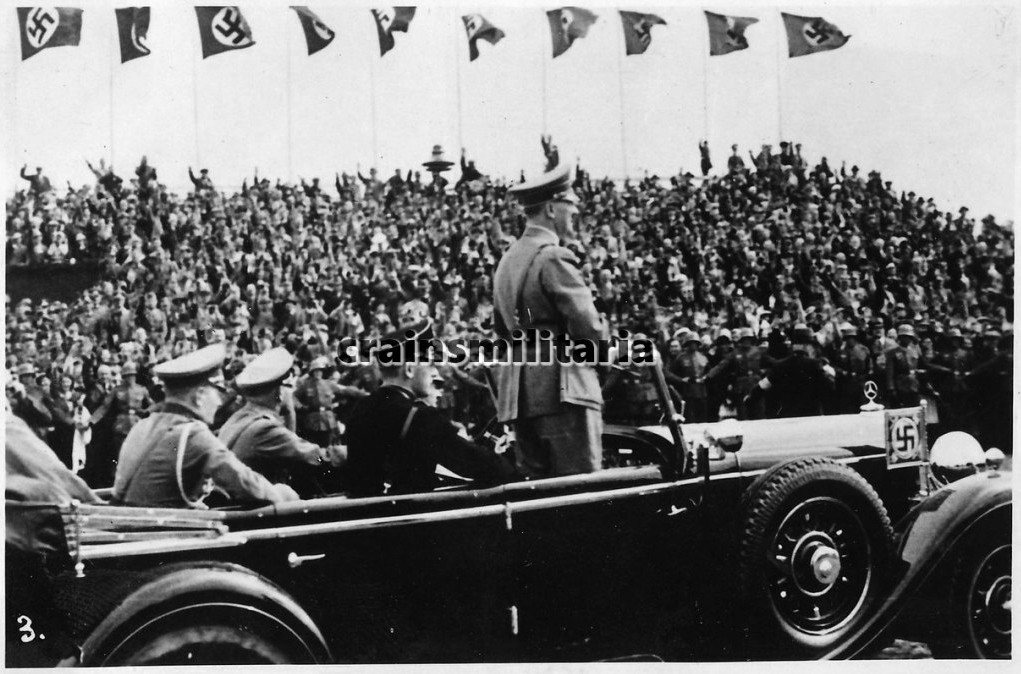 Adolf Hitler during the parade of the V. Armeekorps in Giebelstadt, near Würzburg