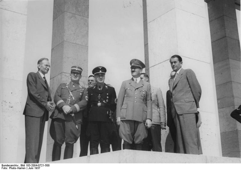 Adolf Hitler visits the Party Rally grounds in Nuremberg with architect Albert Speer and mayor of Nuremberg Willy Liebel