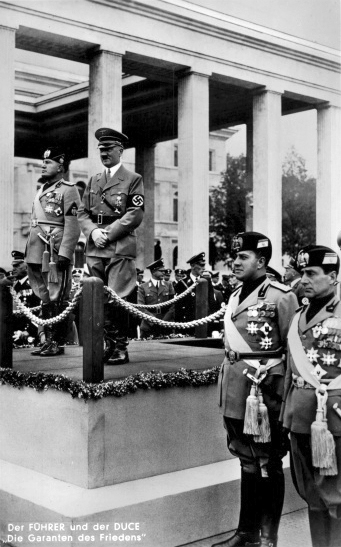 Adolf Hitler and Benito Mussolini at Munich's Ehrentempel