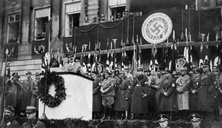 Adolf Hitler giving a speech in front of Coburg rathaus for the 15th year of the Zug nach Coburg