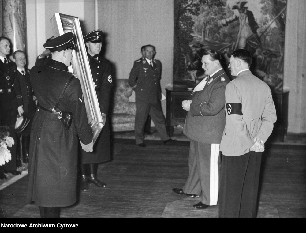 Adolf Hitler offers Göring the painting The Falconer by Hans Makart for his Birthday