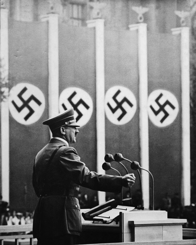 Adolf Hitler speaking at the Lustgarden in Berlin for May day