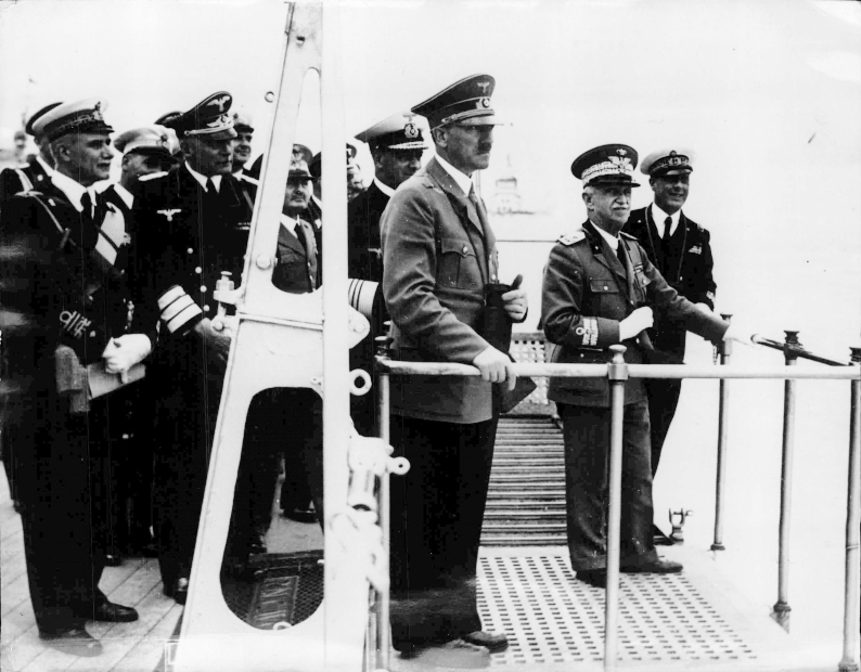 Adolf Hitler and King Viktor Emanuel III. - during the naval review on board of the war ship 'Conte di Cavour'