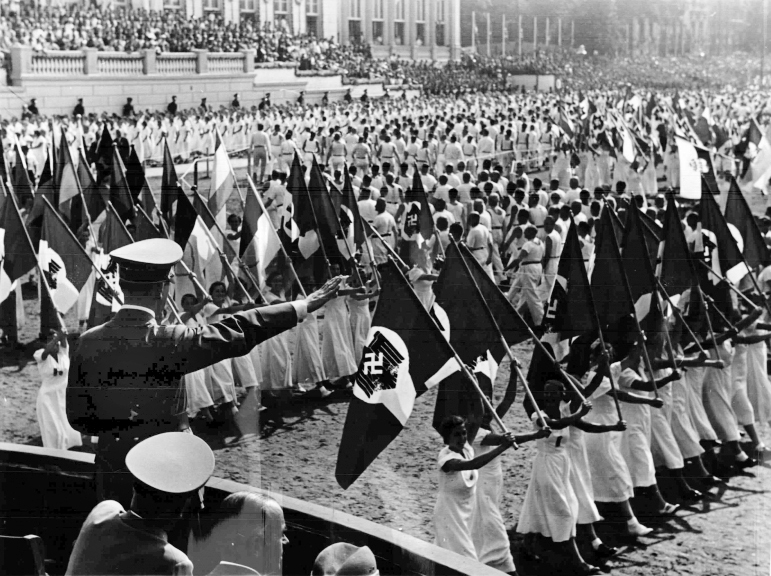 Adolf Hitler at the Breslau's gymnastic festival in the Hermann-Göring-Stadion