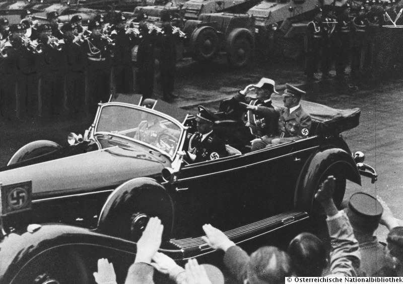 Adolf Hitler and Miklós Horthy on their way to the technical school and parade in Berlin