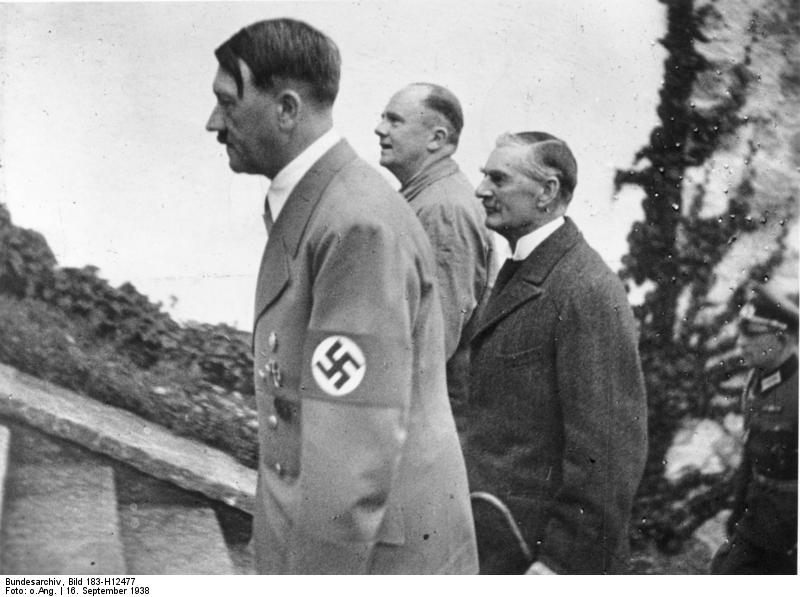 Adolf Hitler and Neville Chamberlain meet at the Berghof. Chamberlain, in an attempt to appease Hitler, gives the Führer a verbal agreement of the annexation of the Sudetenland by the Reich