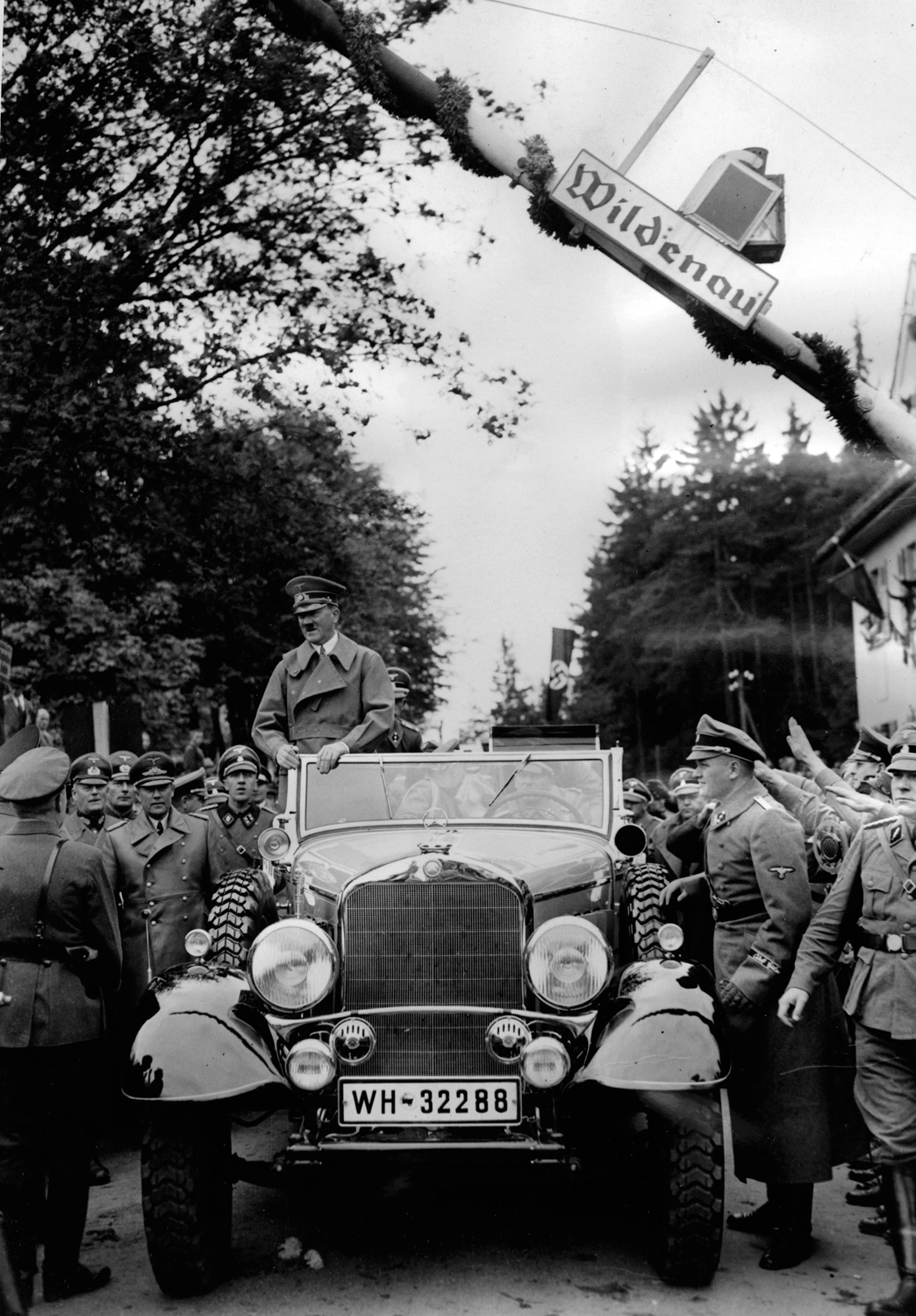 Adolf Hitler crosses the Wildenau border from Germany into Sudetenland with his troops