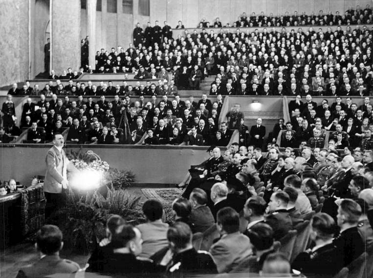 Adolf Hitler in Berlin's Theater des Volkes makes a speech to the workers to celebrate 3000 kms of autobahn