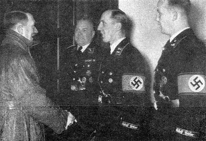 Bruno Gesche gives his well wishes to the Führer for the new year, with Johann Rattenhuber and Hauptscharführer Eichberg
