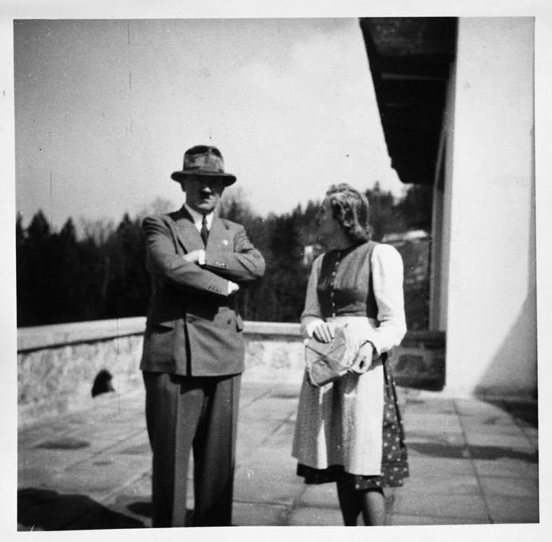 Adolf Hitler and Eva Braun on the terrace of the Berghof, from Eva Braun's albums