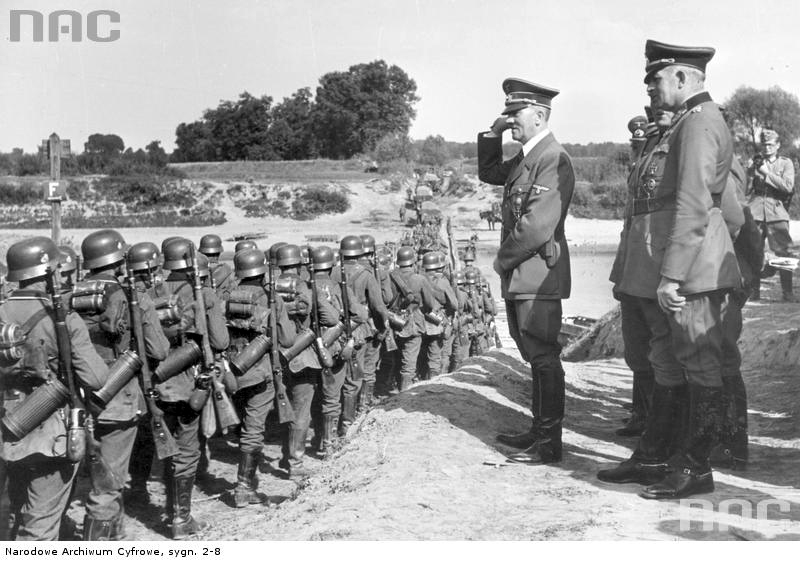 Adolf Hitler salutes his troops near Ubieszyn
