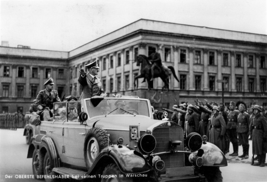 Adolf Hitler arrives in Warsaw after the Polish capitulation