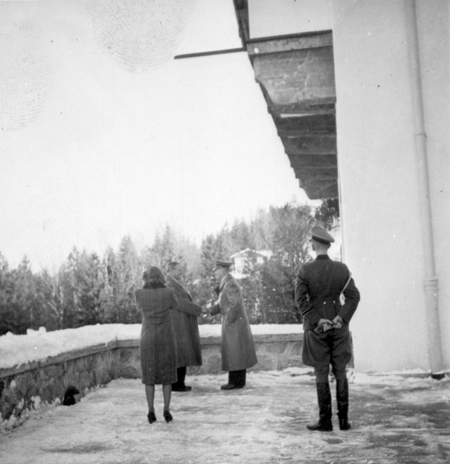 Eva Braun filming Hitler on the Berghof terrace early January 1940, from Eva Braun's albums