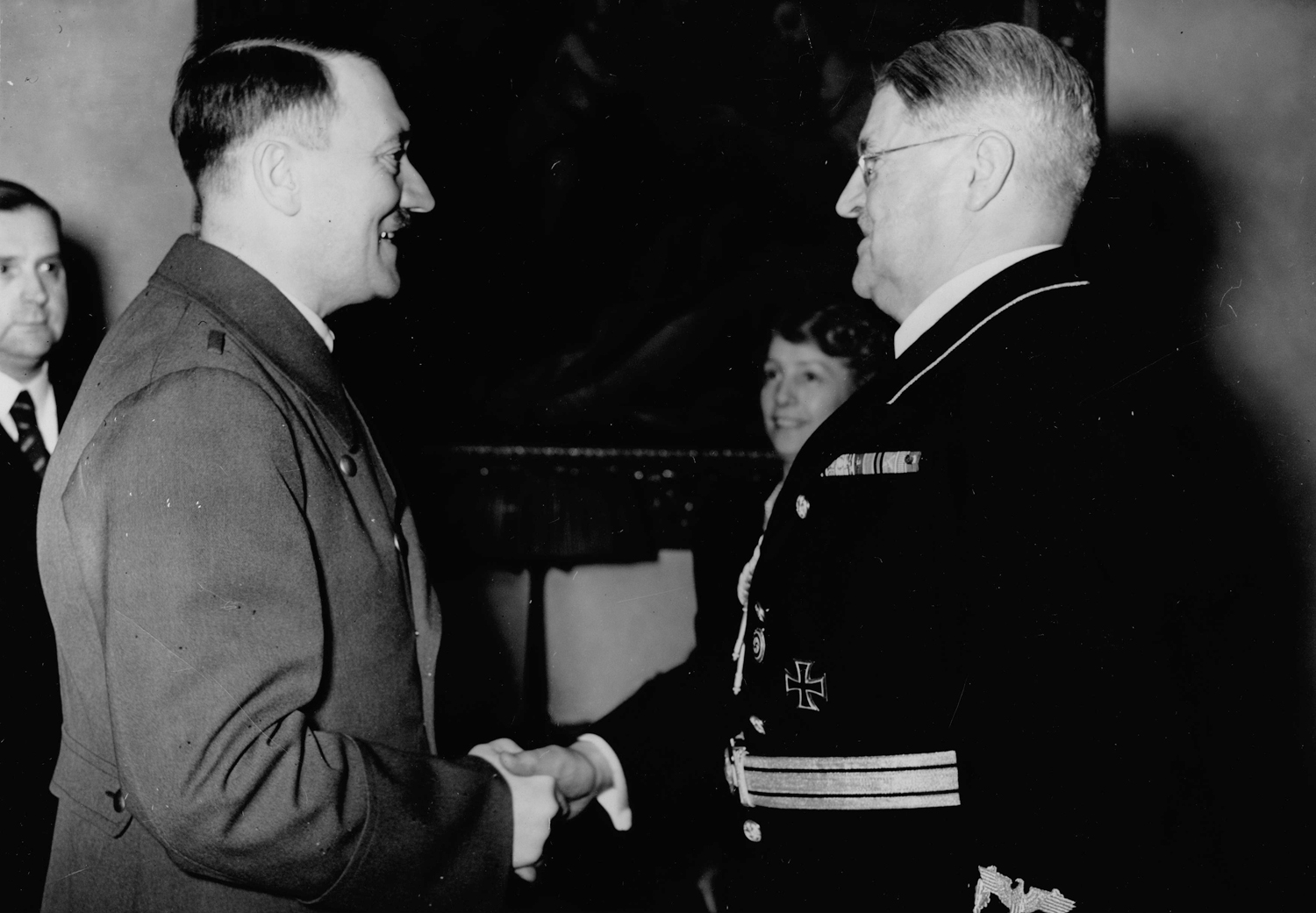 Adolf Hitler congratulates Otto Meisner for his 60th birthday in his Berlin's appartment