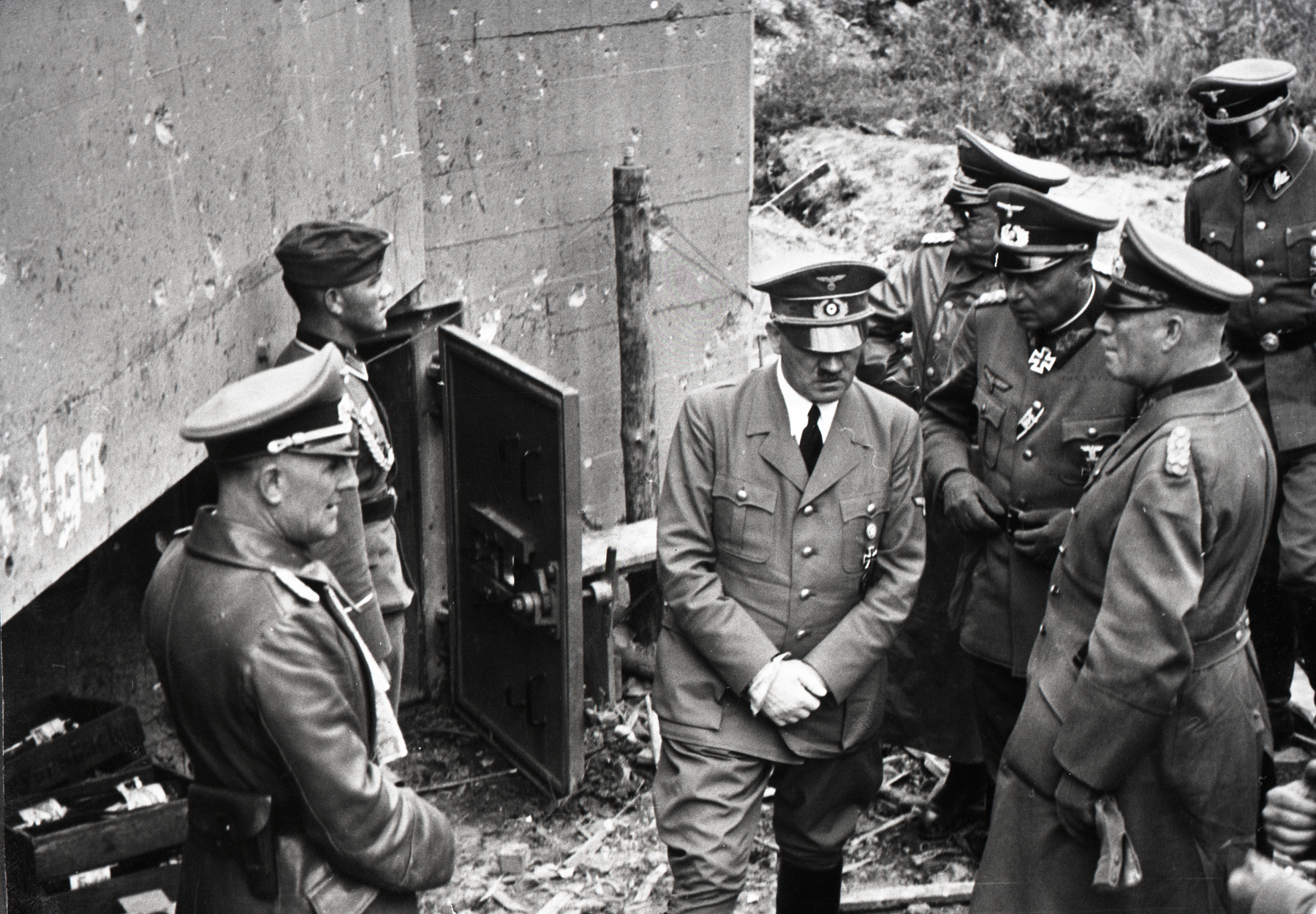 Adolf Hitler visits a German bunker from WWI, from Eva Braun's albums
