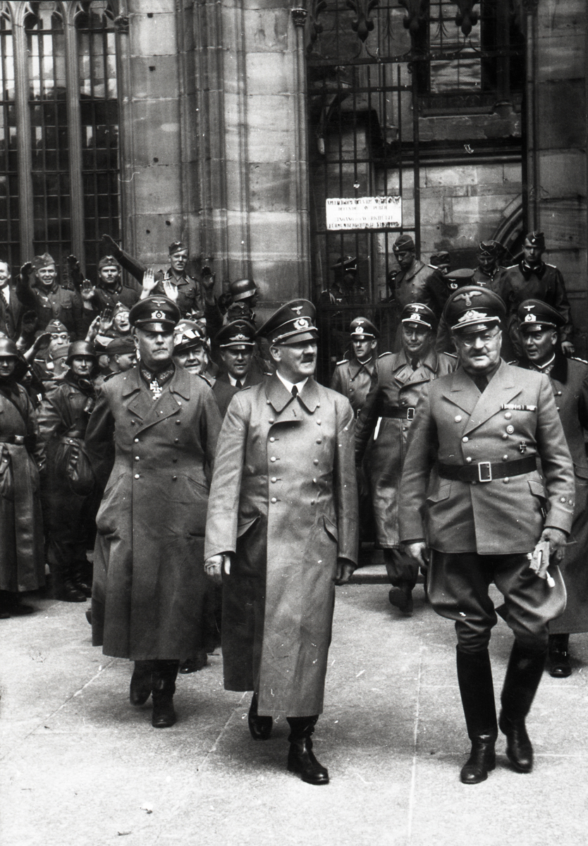 Adolf Hitler visits the Strasbourg cathedral in France, from Eva Braun's albums