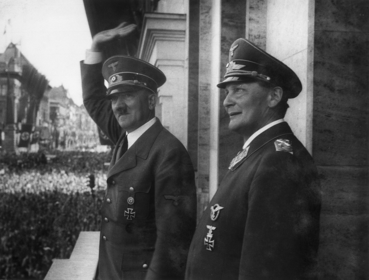 Adolf Hitler and Hermann Göring on the balcony of the chancellery after the victory against France, from Eva Braun's albums
