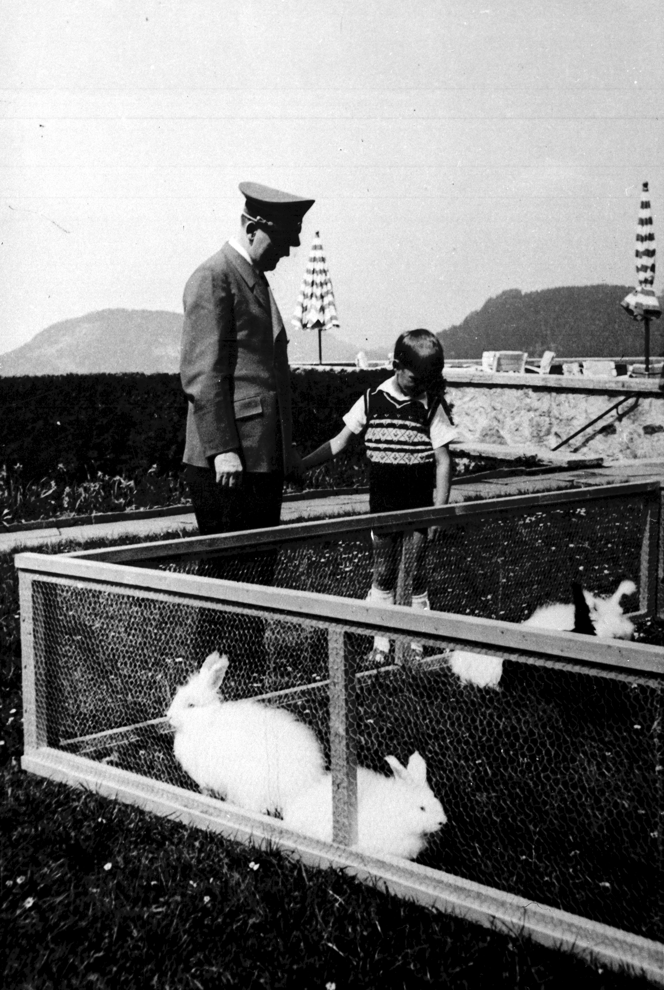 Adolf Hitler with Albert Speer Jr on the Berghof terrace in the summer of 1940, from Eva Braun's albums