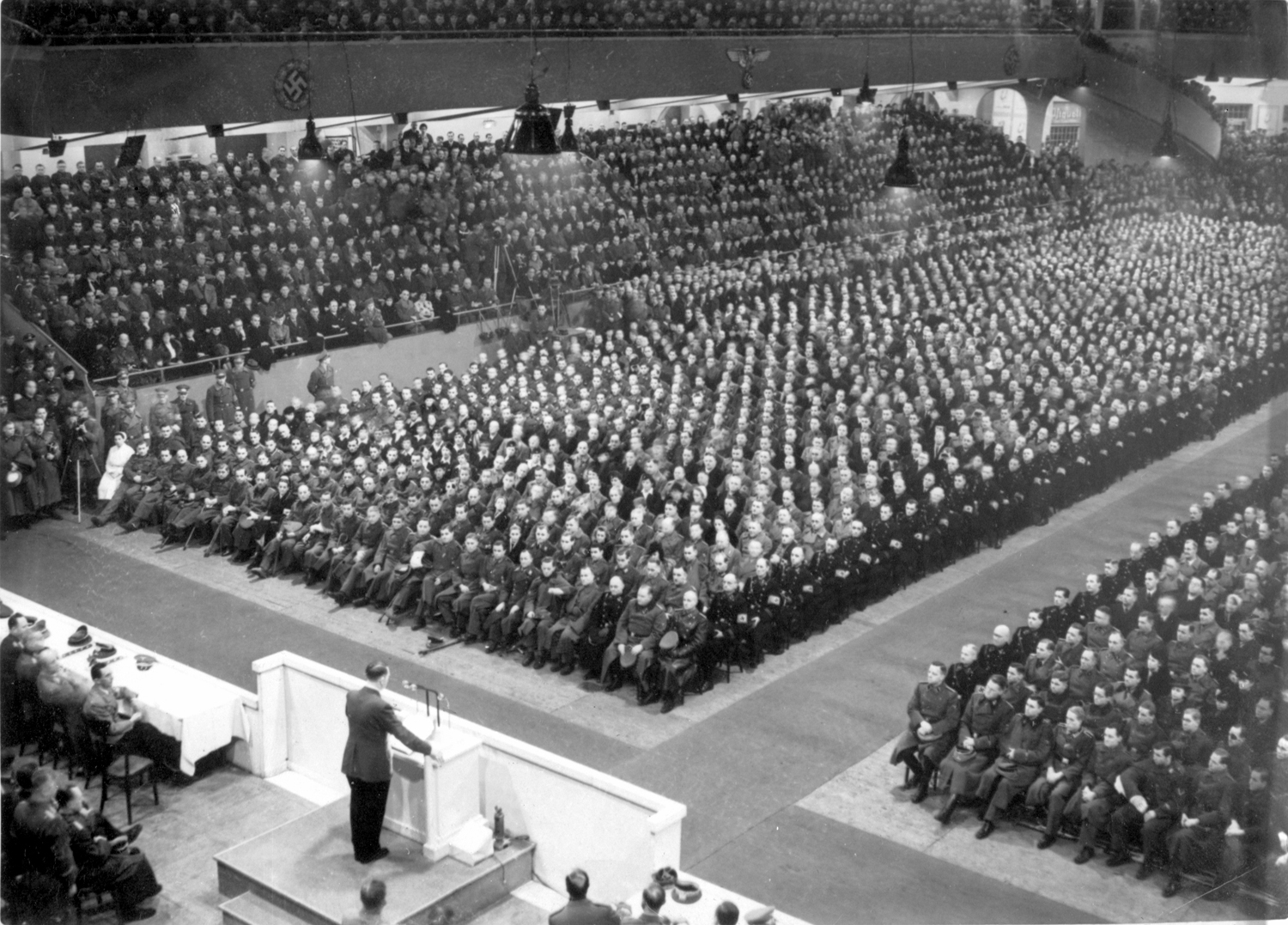 Adolf Hitler gives a speech in Berlin's Sportspalast in front of officers, from Eva Braun's albums