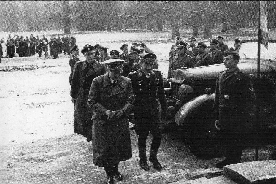 Adolf Hitler and Adolf Galland arrive at Château Bonance near Abbeville, France