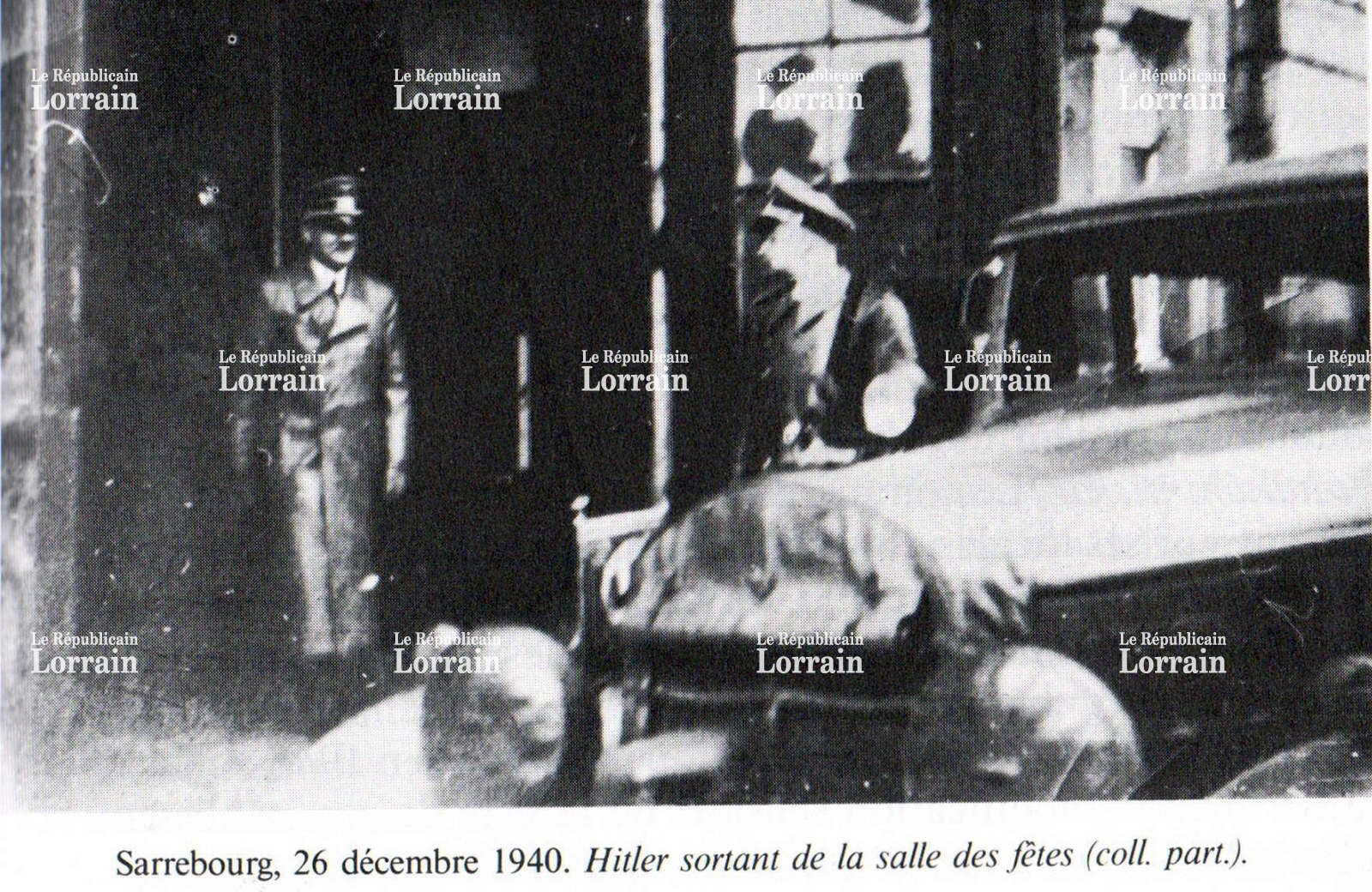 Adolf Hitler leaves the community center in Sarrebourg, France