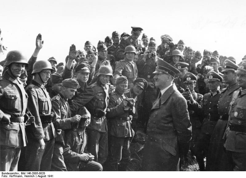 Adolf Hitler inspects troops near Uman, Russia