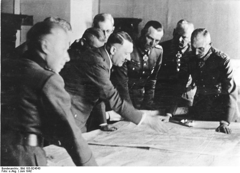 Adolf Hitler at a situation conference in the headquarters of Army Group South in Poltawa
