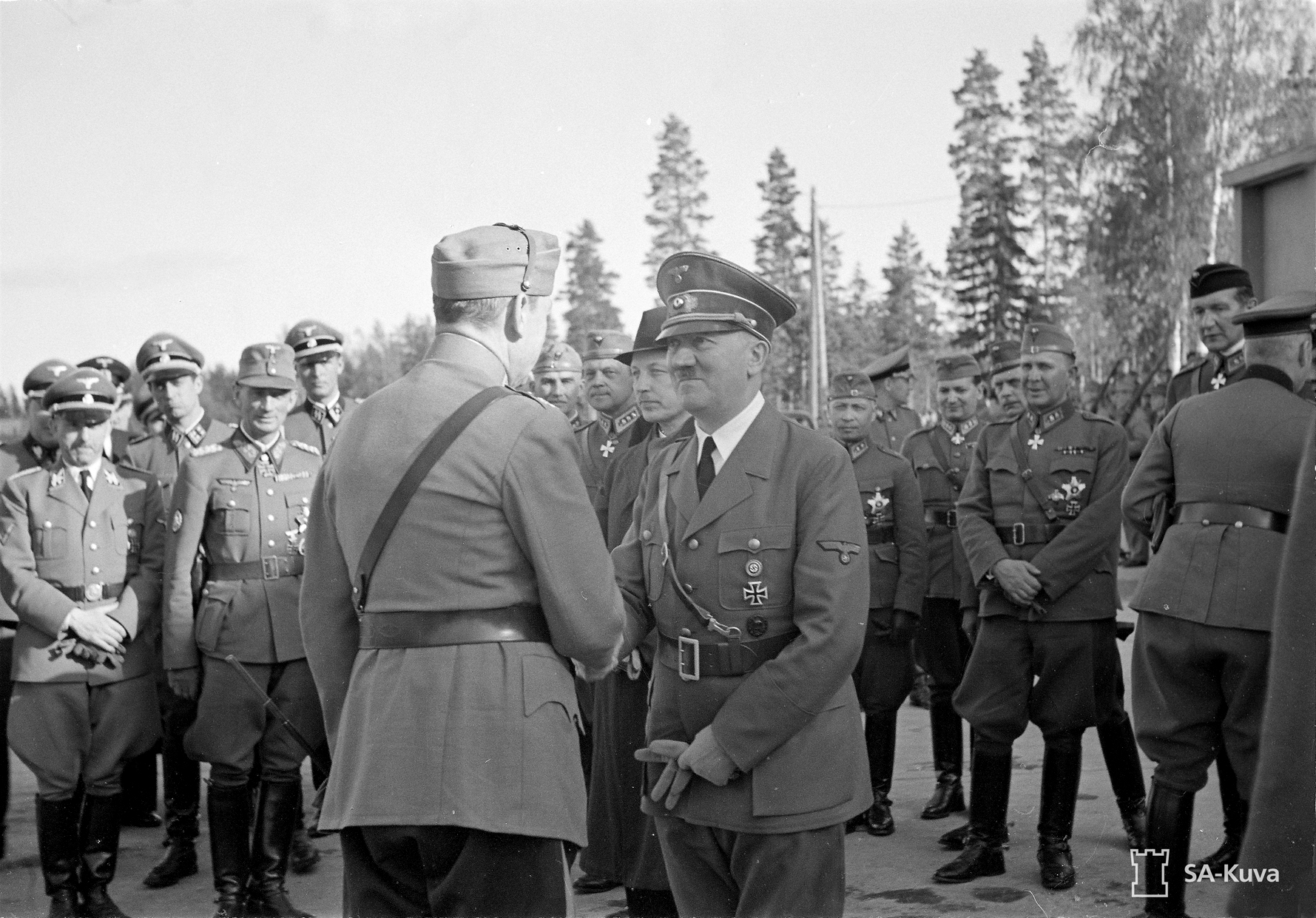Adolf Hitler bids farewell to Mannerheim before his departure after his visit in Finland