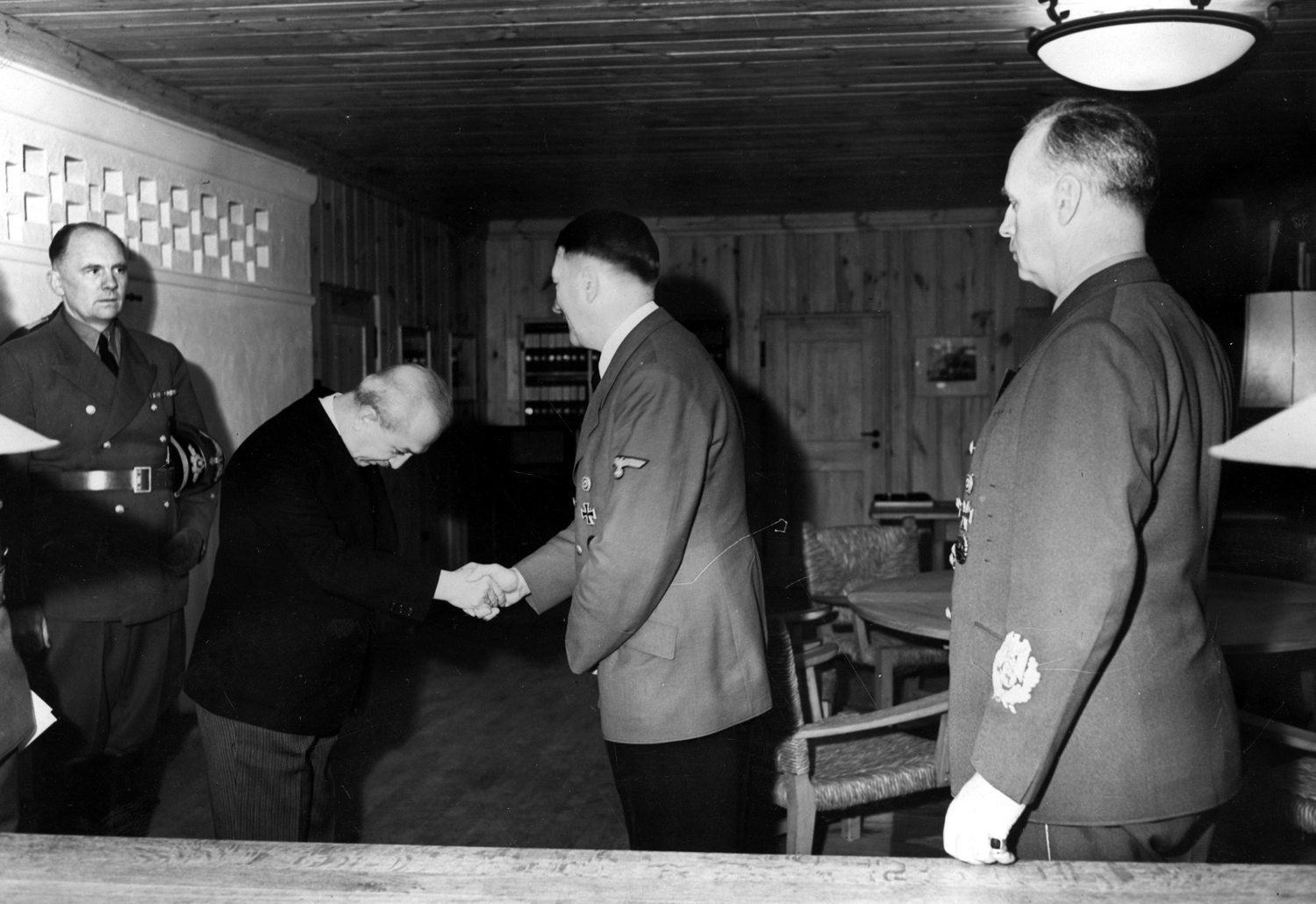 Adolf Hitler receives Turkish amabassador Saffet Arikan in Führerhauptquartier Werwolf