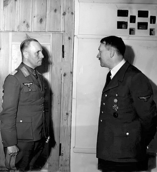 Adolf Hitler awards the oak leaves with swords and diamonds to Erwin Rommel