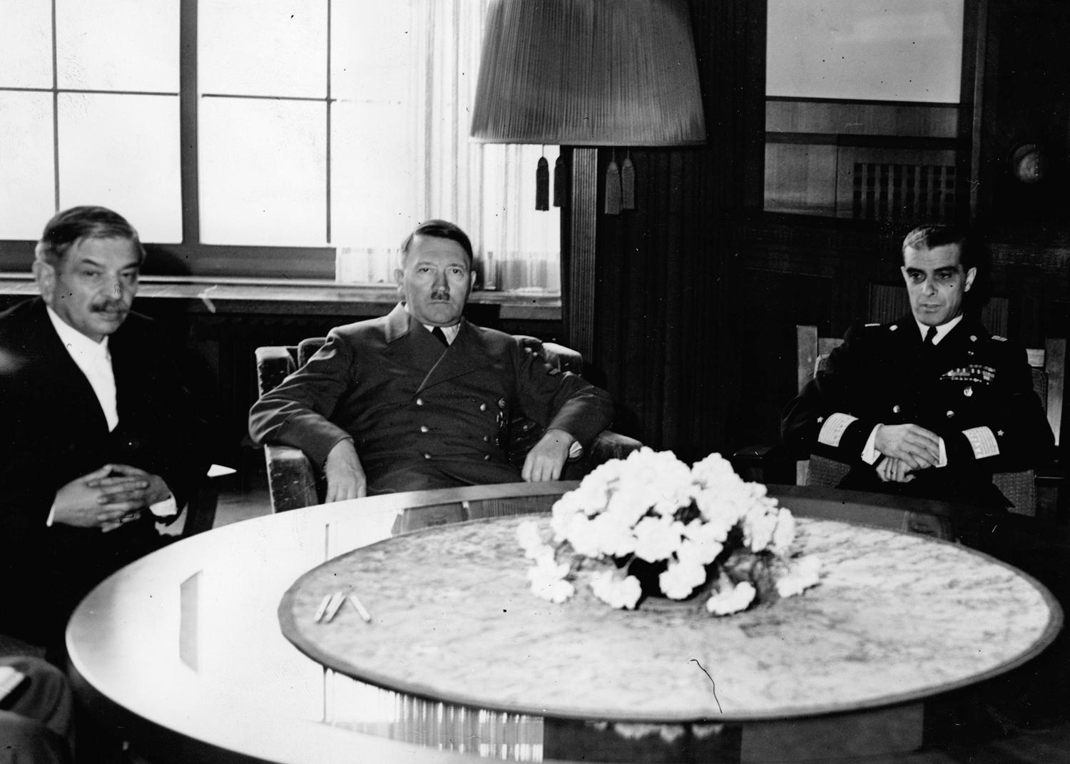 Adolf Hitler at the Berghof with French Prime Minister Pierre Laval and Italian undersecretary of state Giuseppe Bastianini