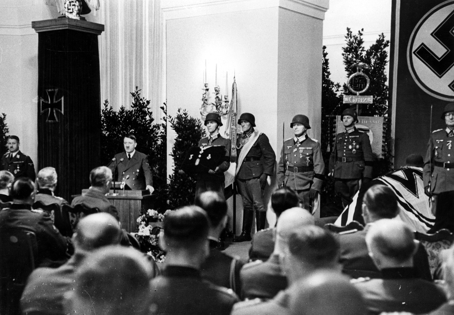 Adolf Hitler gives a speech in memory of the recently deceased general Dietl in Schloss Klessheim